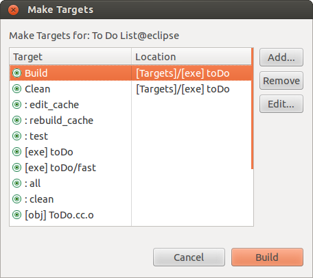 [Eclipse Makefile targets]